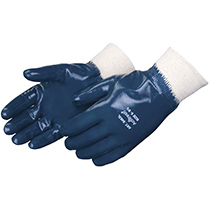 Liberty Glove Smooth finish blue nitrile glove with knit wrist - #9463