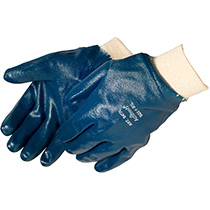 Liberty Glove Smooth finish blue nitrile glove with knit wrist - #9473