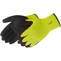 Liberty Glove A-Grip® Textured Black Latex Coated (Hi-Viz green) - #4729HY