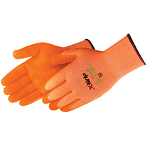 Liberty Glove X-Grip™ hi-viz orange seamless shell, hi-viz orange foam nitrile palm coated