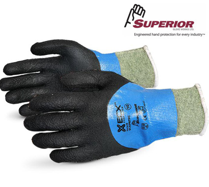 SuperiorEmerald CX® Liquid Proof Kevlar®/Wire-Core™ Gloves with Full Micropore Nitrile Coating #SCXPNTFC
