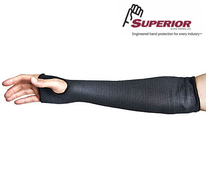 Superior KPW CutBan™ Black Stockinette Cut-Resistant Sleeves #KPW12, KPW18, KPW22